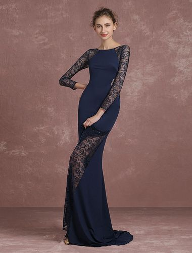 Mermaid Evening Dress Illusion Lace Patchwork Formal Dress Long Sleeve Round Neck Dark Navy Occasion Dress With Court Train Milanoo