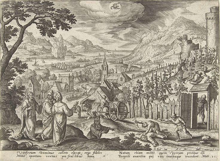 Adriaen Collaert | Oktober: de parabel van de pachters van de wijngaard, Adriaen Collaert, Sadeler, 1585 | Een herfstlandschap. In de lucht het astrologisch teken van oktober: Schorpioen. In de linkerhoek vertelt Christus aan zijn leerlingen de parabel van de pachters van de wijngaard. Op de achtergrond de wijnoogst en de verbeelding van de parabel. In de wijngaard wordt een van de knechten van de eigenaar van de wijngaard door de pachters gestenigd. Op de voorgrond wordt de zoon van de…