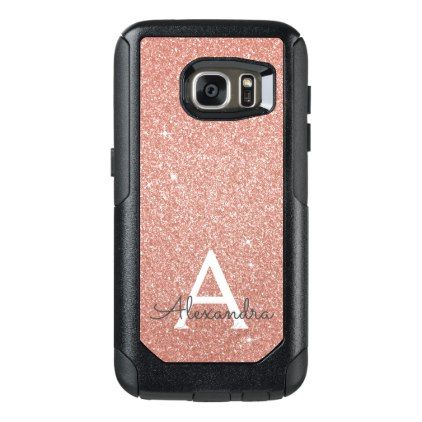 Pink Rose Gold Glitter and Sparkle Monogram OtterBox Samsung Galaxy S7 Case - monogram gifts unique custom diy personalize