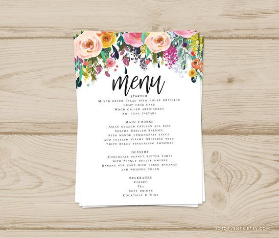 Instant Download 5x7 Event Menu Card Template Can Be Printed As Many Times As Needed Menu Card Template Event Menu Diy Invitations