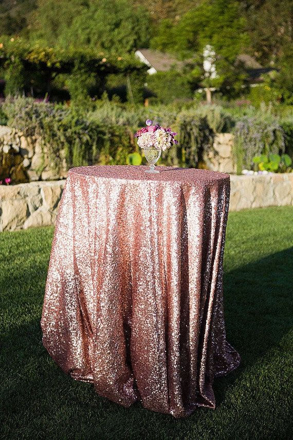 Blush Sequin Tablecloth Rose Gold by CandyCrushEvents on Etsy, $165.00