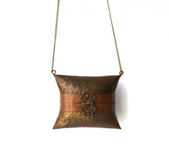 Round She Goes - Market Place - Vintage Indian boho incised brass and copper banded pillow cocktail bag