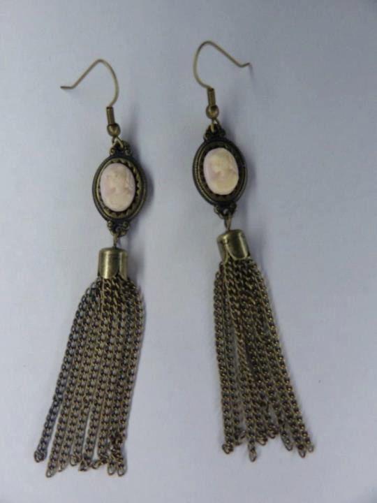 Cameo Earrings,  Antique Bronze Tone,  Chain Fringe. $15.00, via Etsy.