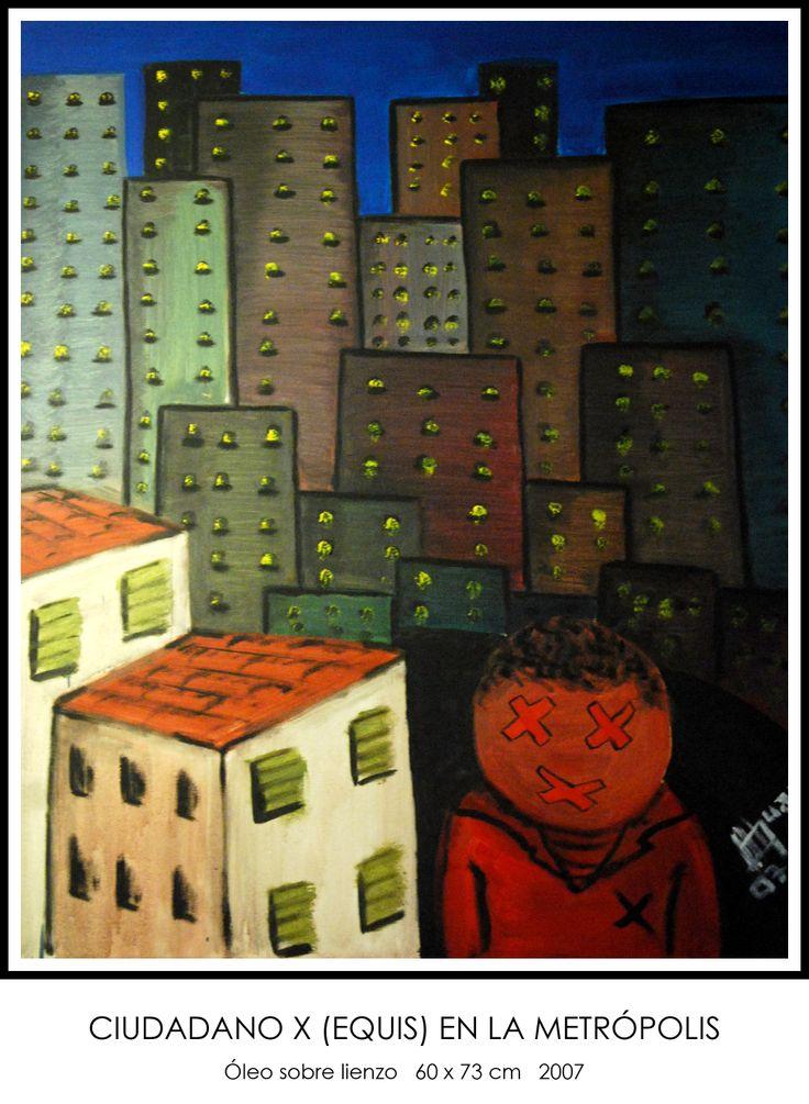 Ciudadano X (equis) en la metrópolis #óleo #lienzo