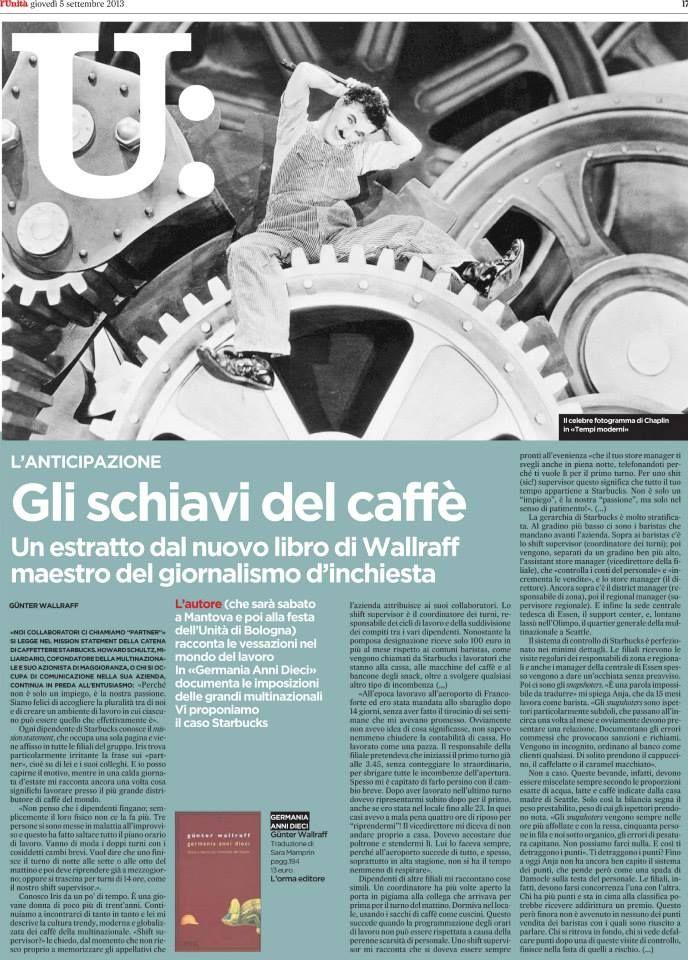 """5 Settembre 2013: su «l'Unità» """"Gli schiavi del caffè"""": un assaggio di """"Germania anni Dieci""""."""