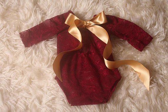 Newborn Baby Girl RTS,Wine Red,2 way stretch Lace,Christmas Photographers Prop,Newborn xmas shoot,Christmas romper,made in uk by me,