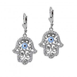 Silver Hamsa Evil Eye Earrings