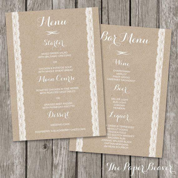 Free printable rustic wedding stationery | Free Menu Templates ...