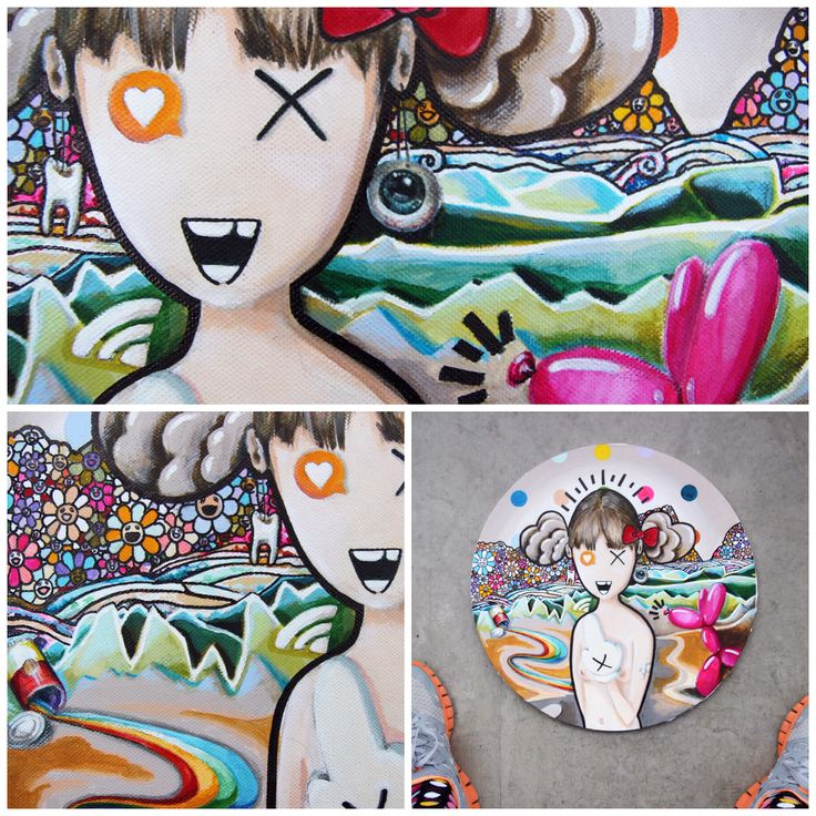 """""""M.L. CHANGED HER PROFILE PHOTO"""" detail, tondo, 40cm, acrylic on canvas, compilation/found footage of motifs from pop art and pop culture. #leonardodavinci #damienhirst #takashimurakami #keithharing #andywarhol #KAWS #jeffkoons"""