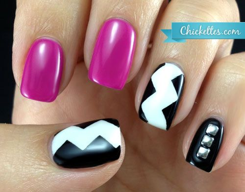 Chickettes.com Zig Zag Skittlette Manicure using Gelish Carnival Hangover, Sleek White and Black Shadow