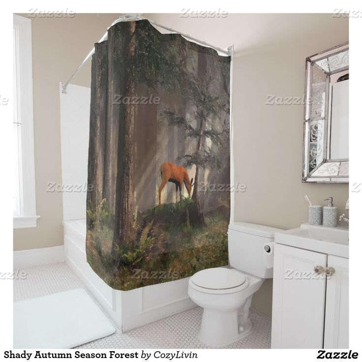 Shady Autumn Season Forest Shower Curtain. Ornate, elegant and funky hipster motif for the artistic interior designer, the artsy popular hip trendsetter, vintage mod retro, nouveau deco art style or abstract graphic digital geometric motif lover. Original, modern and whimsical rustic log cabin or mountain lodge home bathroom decor accent.