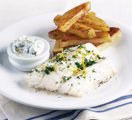 Healthy fish  chips with tartare sauce - A perfectly healthy Friday night special meal for two, fish and chips.