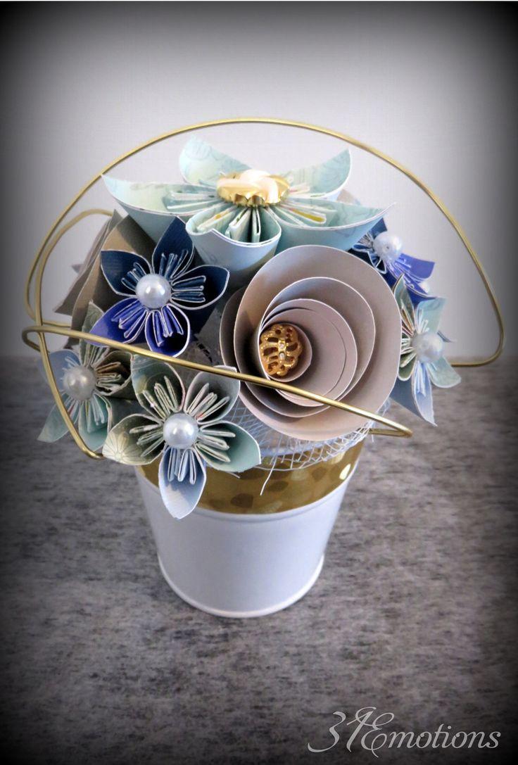 composition florale fleurs en papier kusudama origami : Accessoires de maison par 31emotions