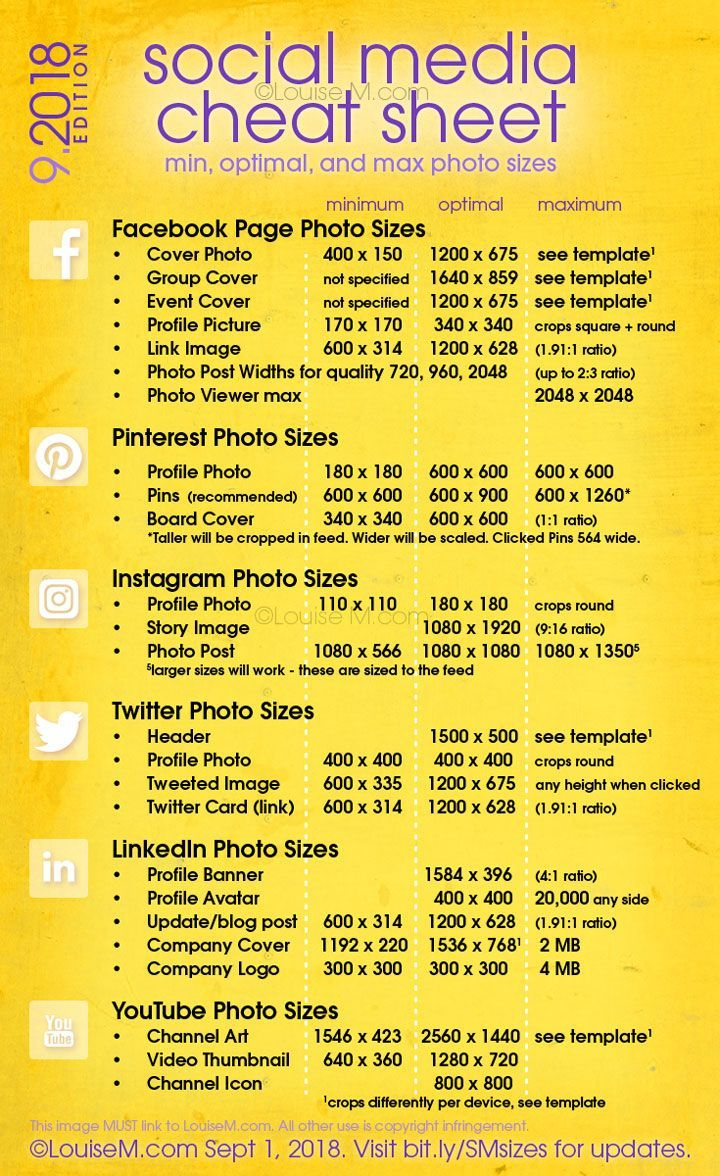 Social Media Cheat Sheet 2019: Must-Have Image Sizes! – Tyler Wooden
