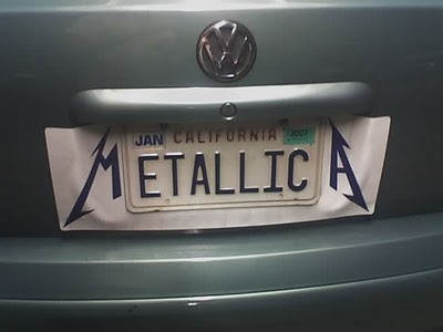METALLICA License Plate. I think they are fans! :) # ...