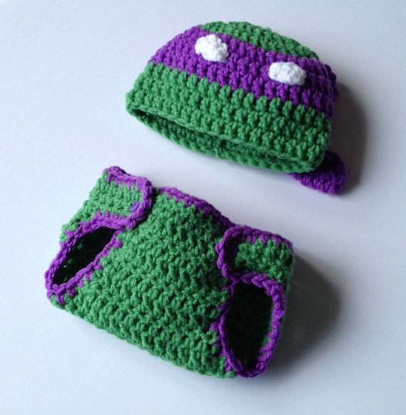 $20 - Baby boy Infant Teenage Mutant Ninja Turtle Donatello diaper set with matching hat 0-3 months Newborn. A great prop for photo shoots!! If you want Raphael, Leonardo or Michelangelo, just ask to see if it can be made!