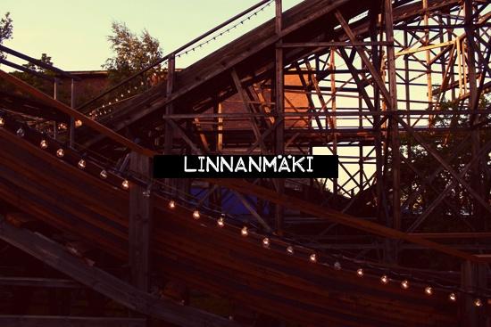 old wooden roller coaster / Linnanmäki amusement park / Helsinki
