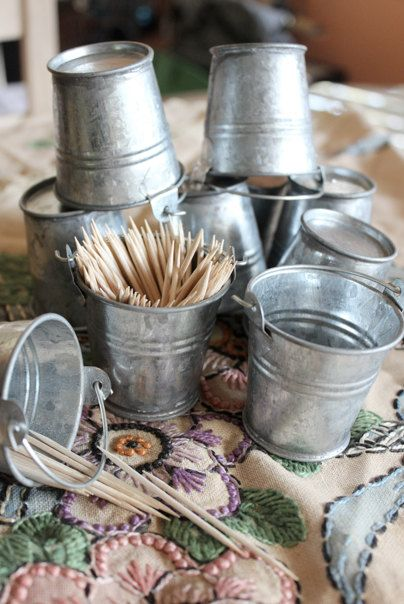 Set of 100 Adorable Rustic Primitive Style Silver Mini Tin Pails / Buckets- For wedding and party favors, candles, and more. $90.00, via Etsy.