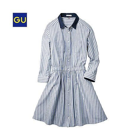 (GU)シャツワンピース(ストライプ・7分袖) - GU ジーユー