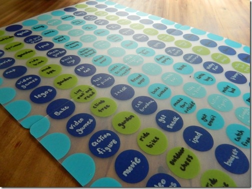 Use plastic place-mats to make a chart (this one's for summer boredom moments)