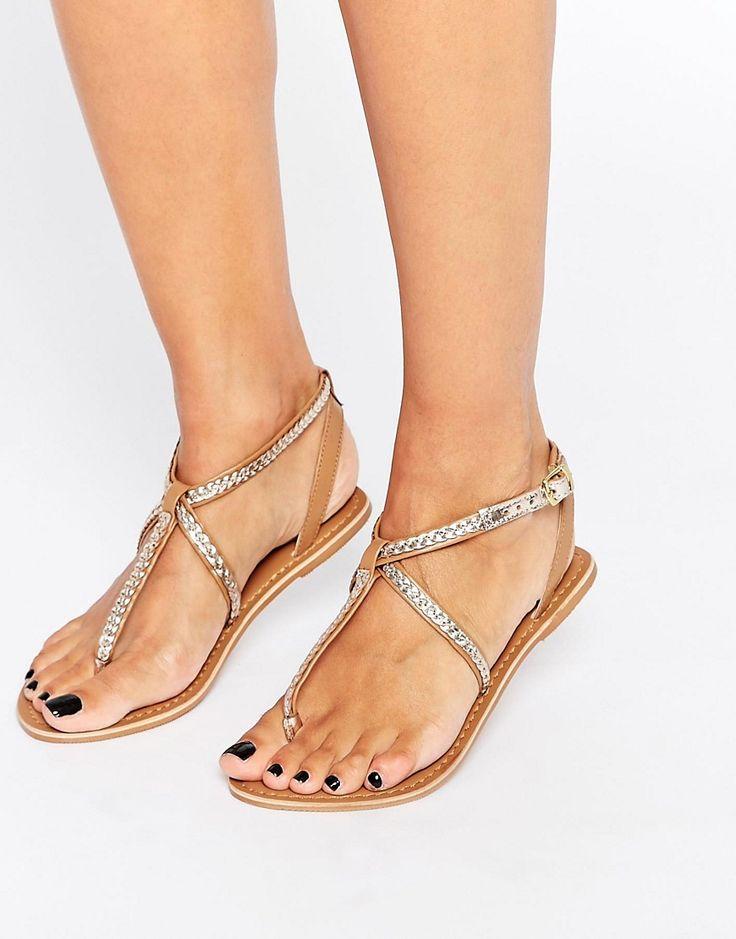 Sandalias planas metalizadas con diseño trenzado de New Look