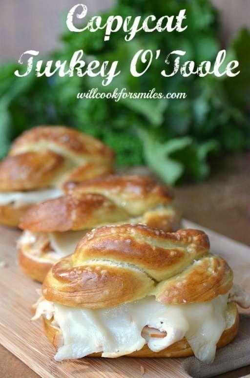 Copycat Turkey O'Toole. It's an oven-roasted turkey sandwich on homemade pretzel roll! Yum!