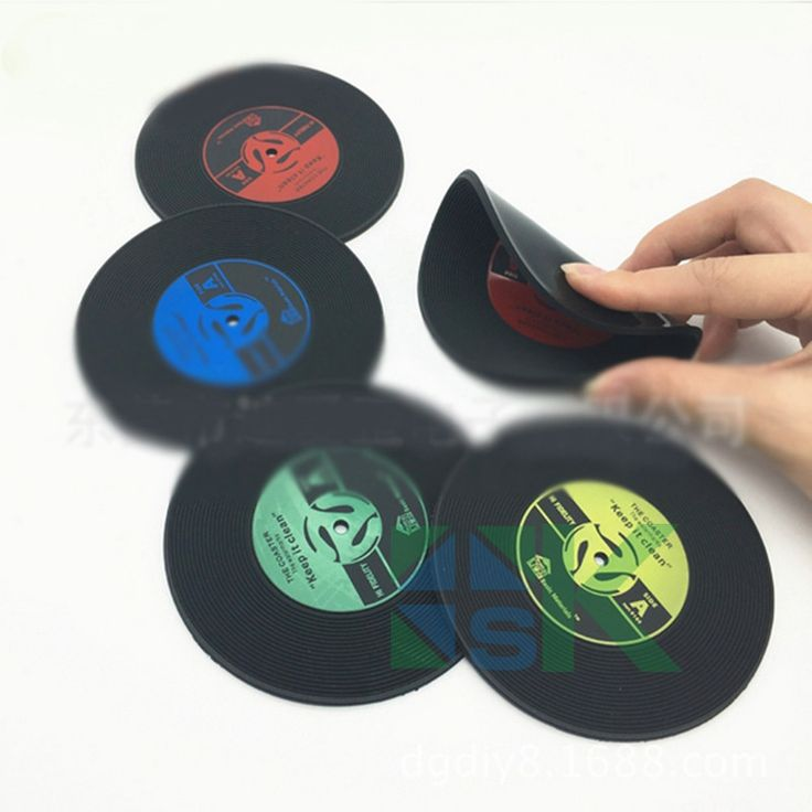 10pcs/lot Creative Kitchen Insulated Pad Retro Vinyl CD Record Shape Coasters Non-slip Round Cup Mat for Hotel Bar Decor
