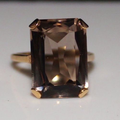 Vintage English 14k Rose Gold Smoky Quartz Ring 1958 Size 8 1/4, London Hallmark in Jewelry & Watches, Vintage & Antique Jewelry, Fine, Retro, Vintage 1930s-1980s, Rings | eBay