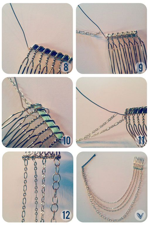 10.Now wrap your wire around the top of your comb and back under. Loop it around once or twice.  11.Continue stringing your chain and then looping the wire around. You'll want to go from shortest to longest so that the longest chain will hang the lowest.  12.Once you've finished stringing your chains, tighten it off with flat-head pliers. (or diy hair combs?) love it must try! #ecrafty