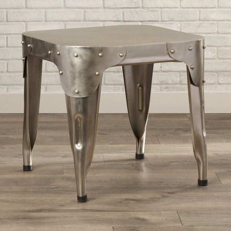 Silver Coffee Table Aluminum Metal Base Vintage Living Room Garden Furniture