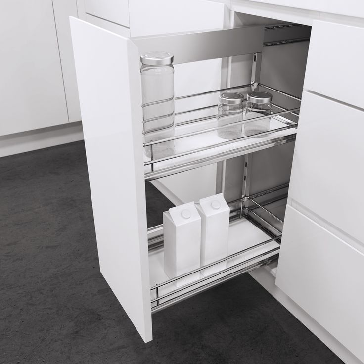 Side-Mounted Pull-Out Unit from Vauth-Sagel with Premea solid base baskets; a proven solution for base cabinets. So easy to use with full extension, soft close and able to mounted on right hand or left hand side to suit your set up. Height adjustable baskets and available for cabinet widths of 150mm, 200mm, 300mm and 400mm. Select from Saphir Chromed Wire baskets, Premea solid base baskets (shown) or Premea Artline baskets with solid base, chromed surround and glass panel