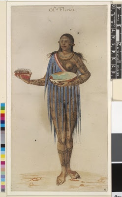 """America's First Pictures:  A tattooed native """"Of Florida"""".  This was one of the first pictures of a native Floridian published in Britain.  1590."""