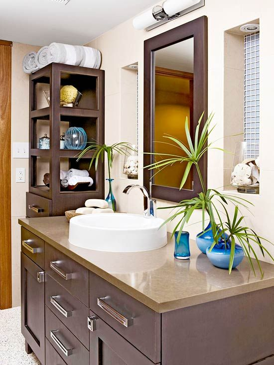 Contrast and Balance: Storage Spaces, Colors Bathroom, Bathrooms Clean, Small Bathroom, Glass Cabinet Doors, Glass Cabinets, Bathroom Idea, Dark Wood, Modern Statement