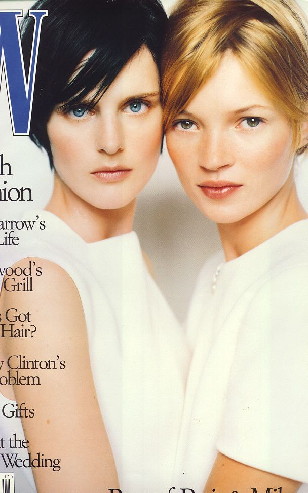 Stella Tennant and Kate Moss on the cover of W, Dec 1995