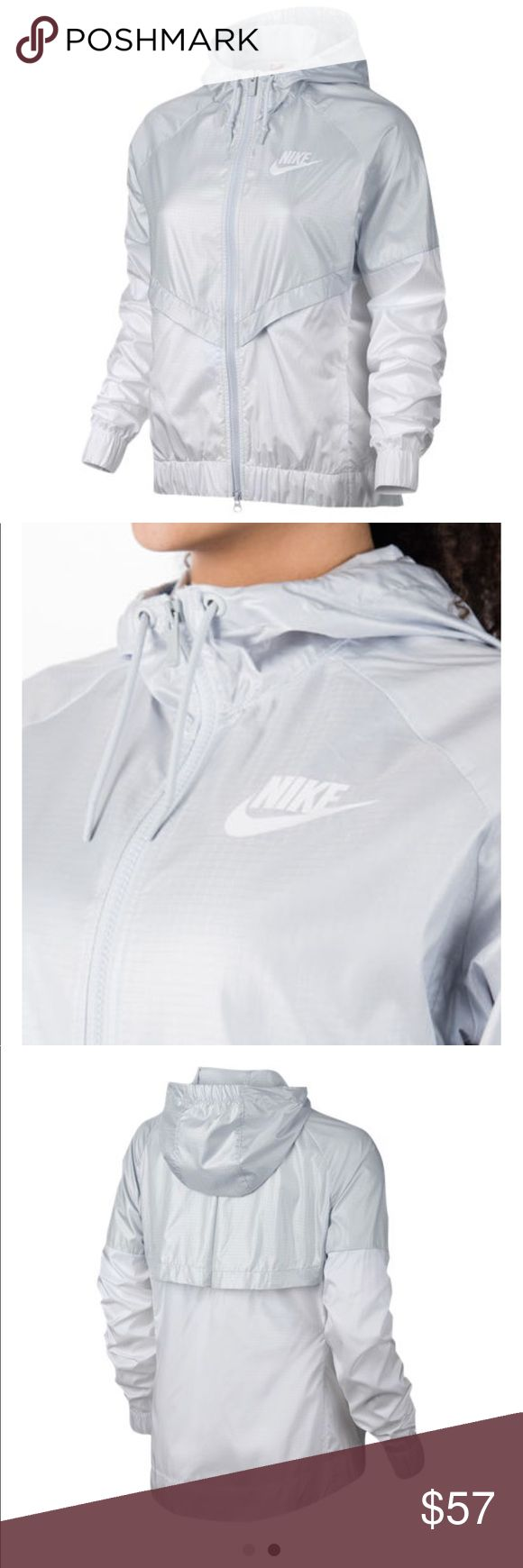 Nike The WindRunner Jacket, Pure Platinum/White Dropped hem provides extra coverage. 100% polyester. Imported. The Nike Sportswear Windrunner Women's Jacket elevates the original running layer for everyday with more coverage and a modern look. Dropped hem for more coverage Adjustable hood zips up to your chin for warmth Raglan sleeves allow you to move naturally Machine wash Fabric: Body: 100% polyester. Back mesh lining: 100% recycled polyester. Nike Jackets & Coats