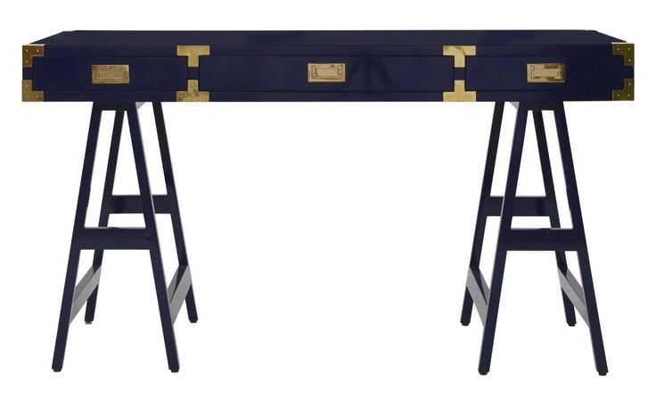 Huck Desk  Art Deco, Industrial, Transitional, Lacquer, Metal, Wood, DesksWriting Table by Jayson Home