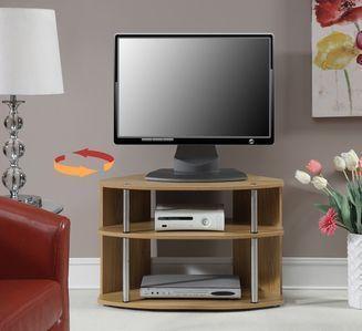 Convenience Concepts Swivel TV Stand, Light Oak
