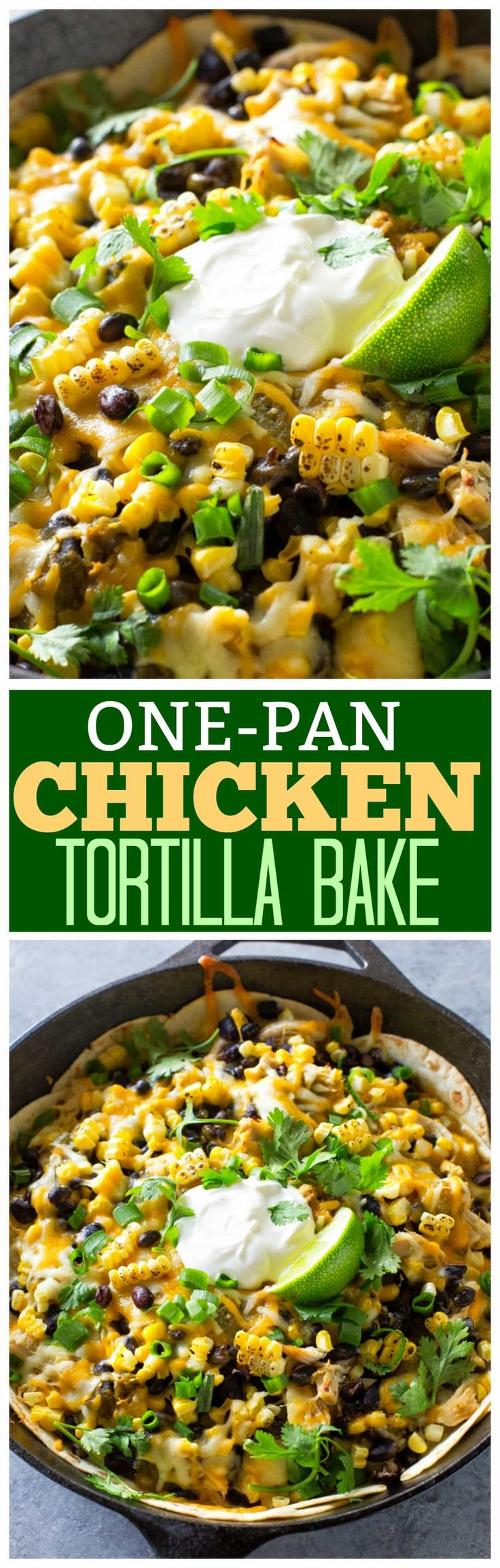 This One-Pan Chicken Tortilla Bake is a spicy Mexican dinner with only 7 ingredients. Layers of tortilla, chicken, black beans, and corn with lots of cheese in between.  the-girl-who-ate-everything.com