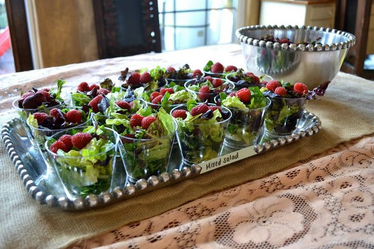 "do a mini Caesar or mixed green salad in little plastic cups for ""once nice green leaf"""