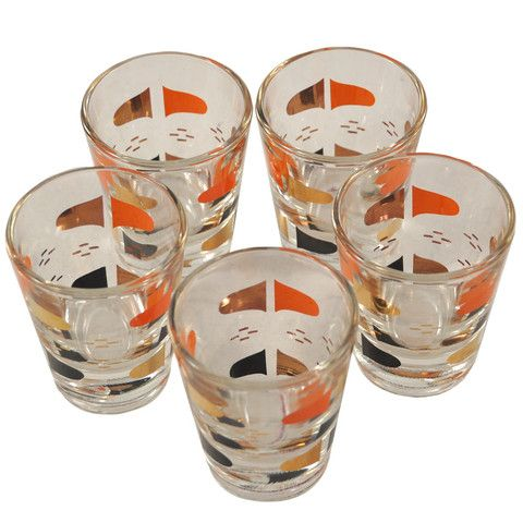 Exceptional Orange, Black U0026 Gold Mod Shot Glasses. Mad Men ...