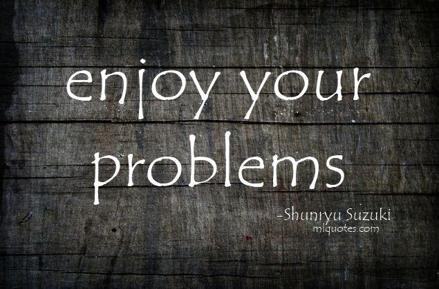 Enjoy your problems. -Shunryu Suzuki-