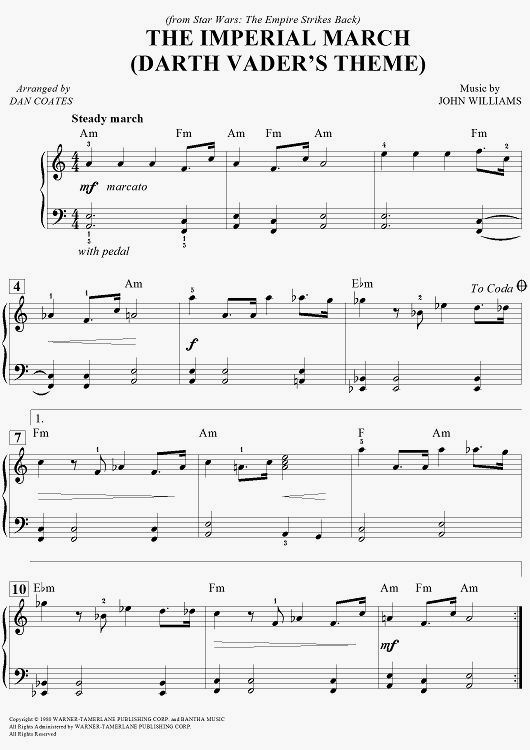 Digital Sheet Music For The Imperial March Darth Vader S Theme