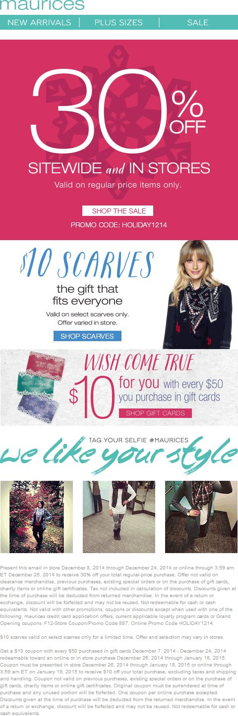 Pinned December 9th: 30% off at Maurices, or online via promo code #HOLIDAY1214 #coupon via The #Coupons App