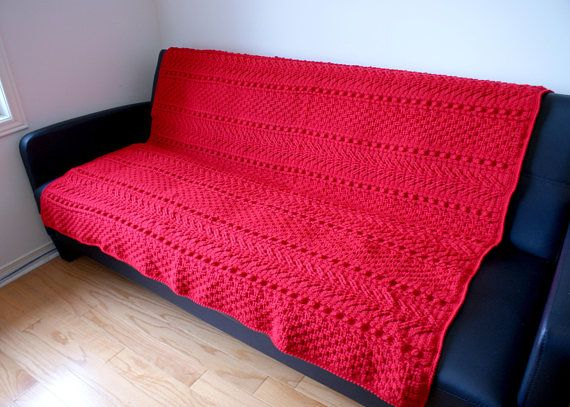 Red Aran Afghan Handmade Throw big crochet blanket solid