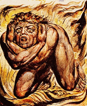 """So while these fires rage across Australia, the raging fire in our own souls, depicted in William Blake's painting 'Cringing in Terror', seems a far greater problem than the latest climate event fixation."""