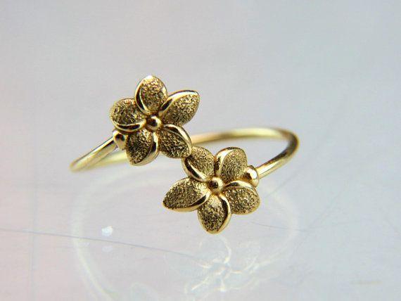 14k Gold Midi Bypass Flower Ring Hawaiian Plumeria Flower Adjustable Signed Jdm Rings For Girls Women Rings 14k Yellow Gold