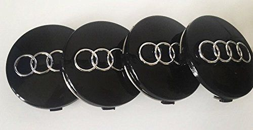 From 6.09 Set Of 4 Black Audi 60mm Alloy Wheel Centre Caps