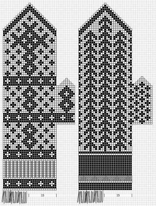Mustrilaegas: Labakindad mittens chart pattern