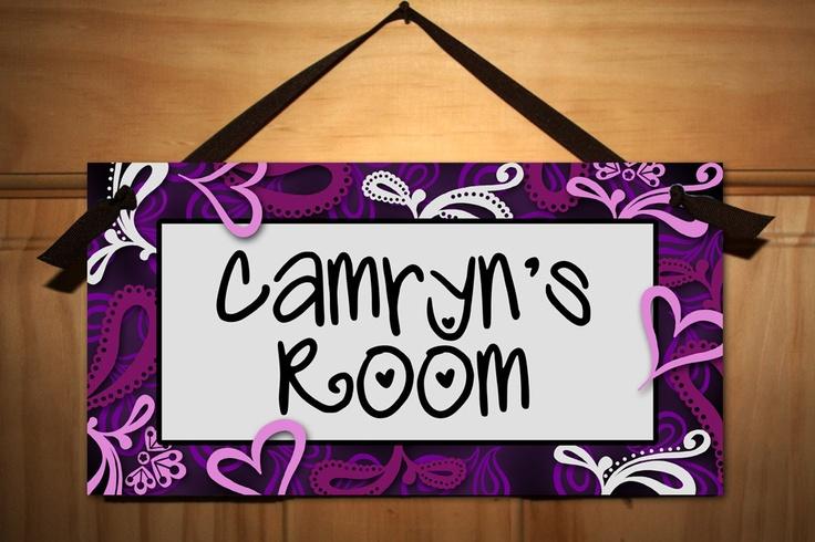 Purple Swirls Girls Teen Bedroom DOOR SIGN Wall Art by ToadAndLily
