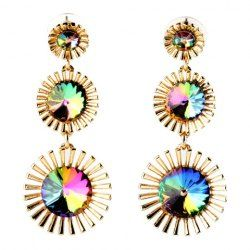 Pair of Trendy Faux Crystal Alloy Floral Earrings For Women (GOLDEN) | Sammydress.com Mobile